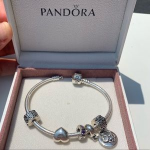 PANDORA Moments Snake Chain Bracelet with Charms